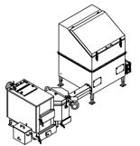 06653048 Automatyczny zestaw do spalania biomasy 1m3 400V 30kW, głowica: ceramiczna, z systemem usuwania popiołu (paliwo: trociny, wióry, zrębki)
