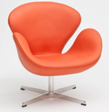 99851013 Fotel Cup inspirowany projektem Swan skóra (kolor: pomarańczowy)