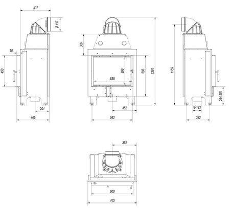 30046770 Wkład kominkowy 10kW MBM (szyba prosta)