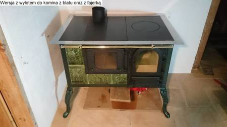 DOSTAWA GRATIS! 92238170 Kuchnia kaflowa, angielka 11kW Dominika z szybą i wężownicą (kolor: zieleń)