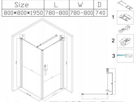 HYDAR KABINA PRYSZNICOWA 80x80 SZKŁO 6mm KWADRAT CZARNA 23178217